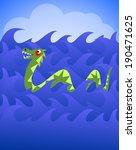 cartoon dragon or sea monster... | Shutterstock . vector #190471625