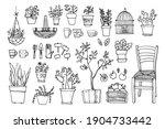 line sketch of flowers in pots  ... | Shutterstock .eps vector #1904733442