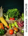 still life  vegetables  herbs...   Shutterstock . vector #190475438