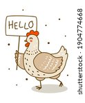 cute chicken isolated on white  ...   Shutterstock .eps vector #1904774668