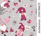 seamless pattern with valentine'... | Shutterstock .eps vector #1904788675