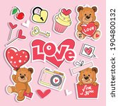 cute trendy stickers with a... | Shutterstock .eps vector #1904800132