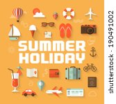 Summer Holiday Flat Icons With...