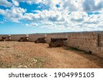 View of the rusted cannons at...