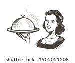 waitress with a tray.... | Shutterstock .eps vector #1905051208