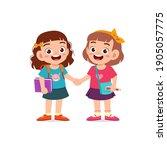 cute little kid girl holding... | Shutterstock .eps vector #1905057775