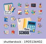 icons of back to school with... | Shutterstock .eps vector #1905136402