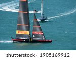 Small photo of Waitemata Harbour, Auckland, New Zealand - January 29 2021: Luna Rossa leading American Magic in the 1st semi-final of the Prada Cup to determine the Challenger for the 36th America's Cup.