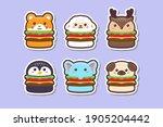 cute kawaii animal burger... | Shutterstock .eps vector #1905204442