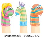 colorful   funny sock puppets | Shutterstock .eps vector #190528472