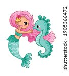 Mermaid And Seahorse On A White ...