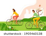 man and woman riding a bicycle... | Shutterstock .eps vector #1905460138