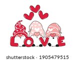 cute three pink gnome love with ... | Shutterstock .eps vector #1905479515