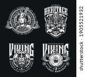 nordic viking vintage emblems... | Shutterstock .eps vector #1905521932