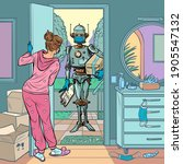 robot courier in a medical mask ... | Shutterstock .eps vector #1905547132