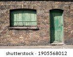 Old Green Wooden Door And...