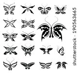 butterflies silhouettes isolated | Shutterstock .eps vector #190563665