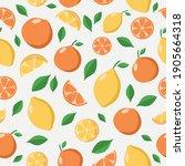bright citrus seamless pattern. ... | Shutterstock .eps vector #1905664318