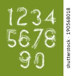 calligraphic numbers drawn with ... | Shutterstock .eps vector #190568018
