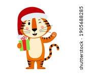 Cute Cartoon Striped Red Tiger. ...