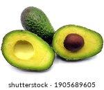 Avocado Split In Half  Isolated ...