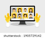 video conference with people... | Shutterstock .eps vector #1905729142