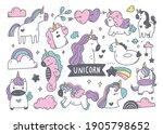 set of cartoon unicorn doodle...   Shutterstock .eps vector #1905798652