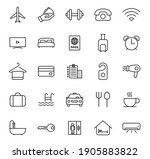 hotel outline vector icons...