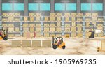 warehouse interior with workers ...   Shutterstock .eps vector #1905969235