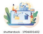 tiny people deleting data on... | Shutterstock .eps vector #1906001602