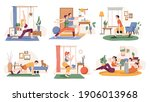 people working out at home ... | Shutterstock .eps vector #1906013968