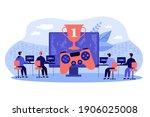 online gamers playing at pc.... | Shutterstock .eps vector #1906025008