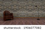 Grunge Stone Wall With Armchair ...
