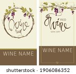 wine labels with grapevine. set ... | Shutterstock .eps vector #1906086352