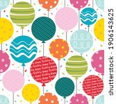 birthday seamless pattern with...   Shutterstock .eps vector #1906143625