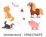 Set Of Cute Cartoon Baby Pets....
