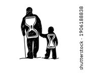 Dad And Son Silhouette With...