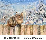 Watercolor Fluffy Kitty. The...