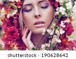 beautiful woman in blooming... | Shutterstock . vector #190628642