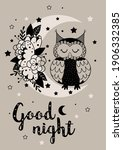 magic poster with owl on floral ... | Shutterstock .eps vector #1906332385