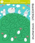 egg rolling race labyrinth.... | Shutterstock .eps vector #1906334998