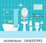 bathroom with toilet interior... | Shutterstock .eps vector #1906337092
