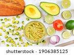 avocado halves and pieces ...   Shutterstock . vector #1906385125