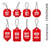 realistic red price tags... | Shutterstock .eps vector #1906396348