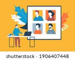 video conference  video call ... | Shutterstock .eps vector #1906407448