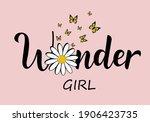 daisy flower lettering hand... | Shutterstock .eps vector #1906423735