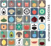 colorful food icons. fruit and... | Shutterstock .eps vector #190643366
