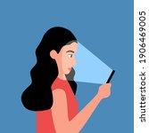woman using smartphone in dark... | Shutterstock .eps vector #1906469005