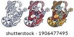 mariachi skeleton wearing... | Shutterstock .eps vector #1906477495