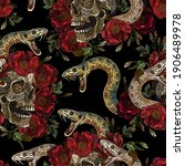 embroidery human skull  snake...   Shutterstock .eps vector #1906489978